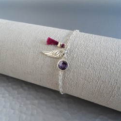 Bracelet violet aile et pompon pourpre