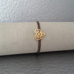 Bracelet Coeur Plaqué Or Lien Marron Nacré
