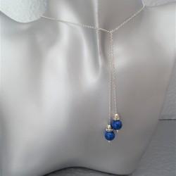 Collier Cravate Argent Perles Lapis Lazuli