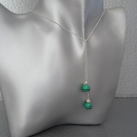 Collier Cravate Argent Perles Malachite
