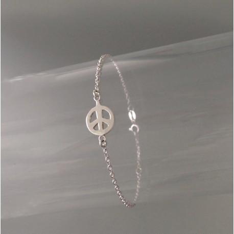 Bracelet Chaîne Argent Motif Peace