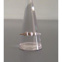 Bague Chaine en Argent avec 3 Perles Diamantées