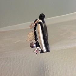 Bracelet Double Lien en Cuir Suédine Noir avec Breloques Argentées