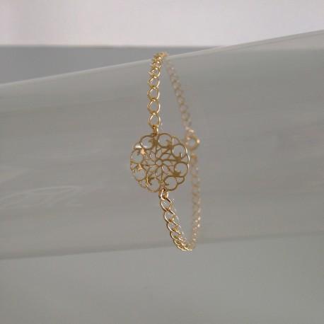 Bracelet Chaîne Plaqué Or Fleur Rosace