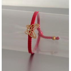 Bracelet Papillon Plaqué Or Lien Rouge