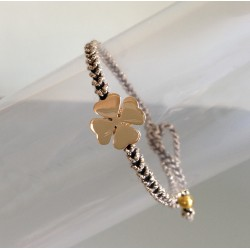 Bracelet Trèfle Plaqué Or Lien Or et Noir