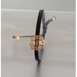 Bracelet Arabesque Plaqué Or Lien Noir