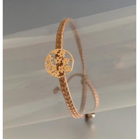 Bracelet Mini Fleurs Plaqué Or Lien Beige