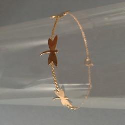Bracelet Chaîne Plaqué Or Libellules
