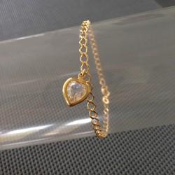 Bracelet Chaîne Plaqué Or Zirconium Coeur Serti Clos