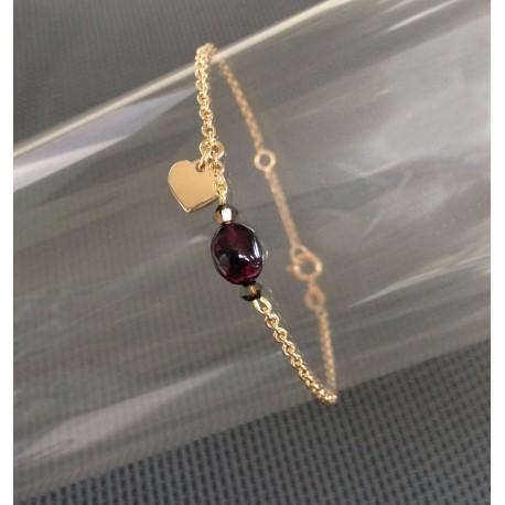 Bracelet Chaîne Plaqué Or Perle Grenat et Coeur