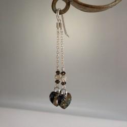Boucles d'Oreilles Pendant chaîne Argent  Coeur Swarovski Bronze