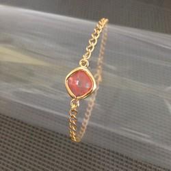 Bracelet Chaîne Plaqué Or Zirconium Corail Serti Clos