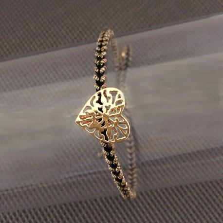 Bracelet Coeur Plaqué Or Lien Or et Noir
